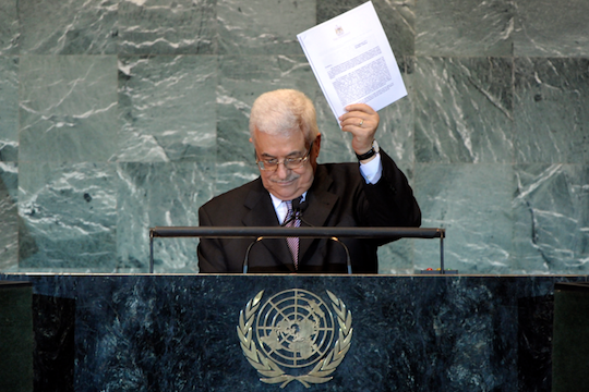 PA President Abbas holding up the application for UN membership in September 2011 (photo: UN/Marco Castro)