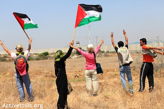 A group of Palestinians from Beit Hanoun, together with internationals demonstrated against the buffer zone in Beit Hanoun, Gaza Strip. (photo: Activestills)