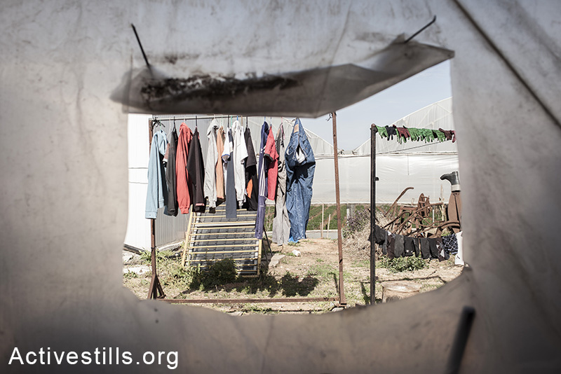 A view outside the shipping container on the yard, were the workers hang their clothes to dry, Moshav Yavetz, January 25.1.2014. (Shiraz Grinbaum/Activestills.org)