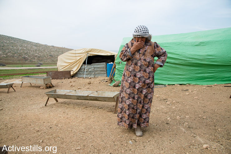 A resident of the Jordan Valley village of Kirbet Makhoul inspects stores of feed for livestock kept in tents built since the village was demolished by the Israeli military, January 22, 2014. Khirbet Makhoul was demolished twice by the Israeli army in autumn of 2013. The army has also prevented humanitarian aid organizations from delivering tents and other forms of assistance to residents. (photo: Ryan Rodrick Beiler/Activestills.org)