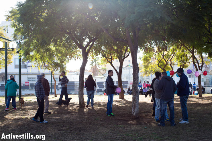 Israeli right wing protesters gather in a park in South Tel Aviv.