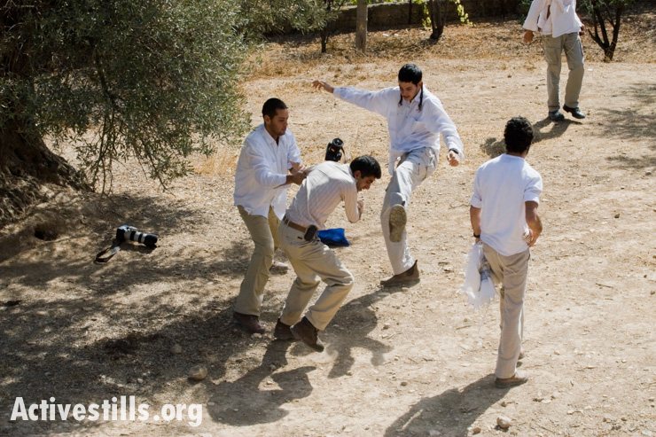 Israeli settlers attack a photographer during an olive harvest activity in Hebron. The people of Hebron are frequently harassed and physically attacked by settlers on their agricultural lands. During the olive harvest, international and Israeli activists often join the villagers to harvest the olive crop.