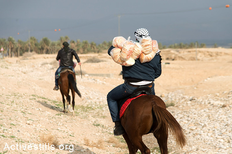 Due to Israeli army roadblocks that would not allow cars to enter, Palestinians on horseback help deliver food and supplies to the protest village of Ein Hijleh on the fourth day of the encampment, Jordan Valley, West Bank, February 3, 2014. (photo: Ryan Rodrick Beiler/Activestills.org)