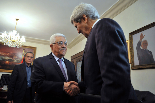 U.S. Secretary of State John Kerry meets with Palestinian Authority President Mahmoud Abbas in Amman, Jordan, June 29, 2013. (Photo by State Dept.)
