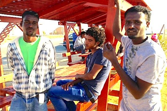 Eritrean prisoners at the Holot 'open detention center'. (photo: Ayla Peggy Adler)