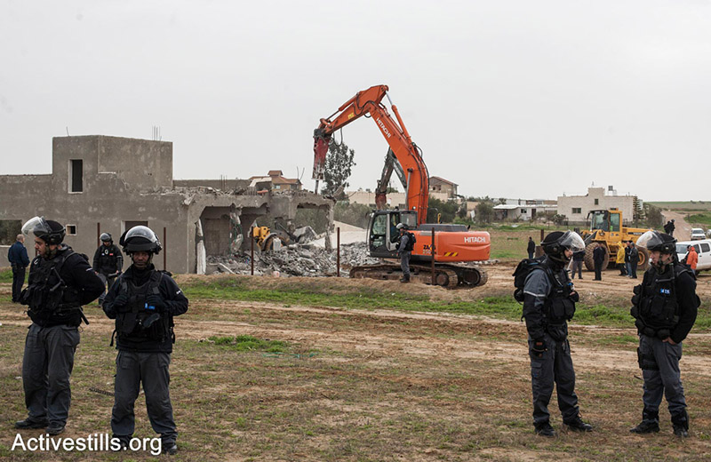 A house demolition in A-Sayed, Negev, Israel.