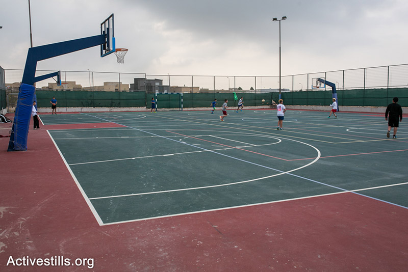 The elementary schoole basket ball field at Gvaot Bar, Negev, Israel.