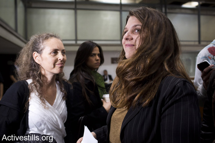 Dafni Leef, one of the leaders of the 2011 social protest movement, seen in Tel Aviv court on January 7, 2013 at the opening of a trial in which she is accused of attacking a police officer during a protest.