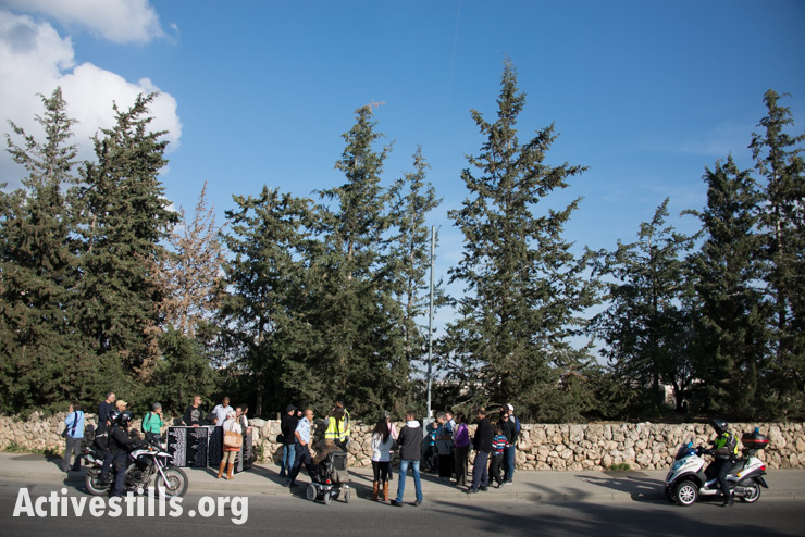The march stops near the village's cemetery, now obscured by pine trees. (photo: Activestills.org)