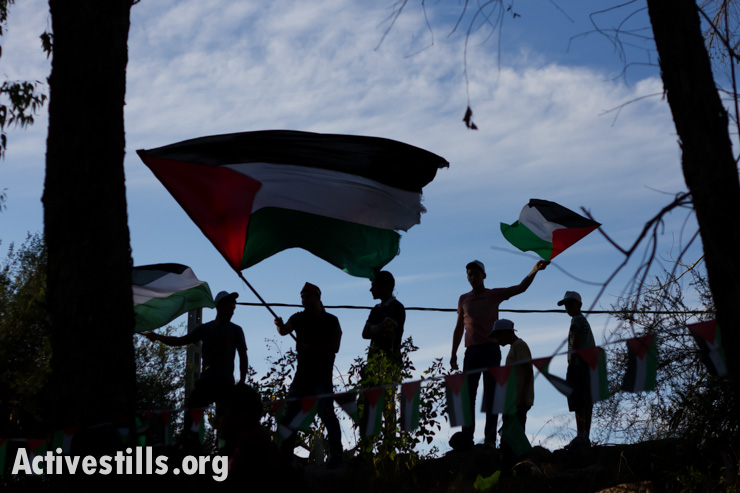 Marchers carry flags in a Nakba Day commemoration in the displaced village of Capri  in the western Galilee,  May 15, 2014.