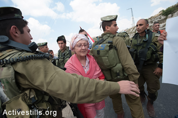 A French solidarity activist confronts Israeli soldiers during the weekly demonstration against the Israeli separation barrier in the West Bank village of Al Ma'sara, May 9, 2014. The separation barrier would cut off the village from its agricultural lands if it is built as planned. (Activestills.org)