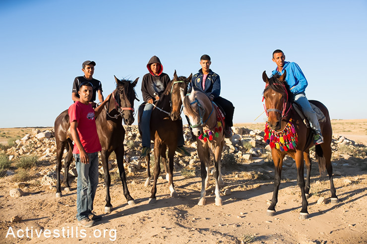 Youth from the unrecognised Bedouin village of Bir Al-Hamam ride their horses in the village on May 14, 2014. Local residents use old caves and wells to prove their long presence in the area. (Activestills.org)