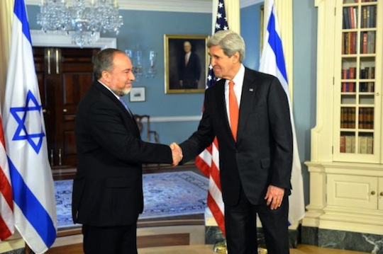 Secretary Kerry Shakes Hands With Israeli Foreign Minister Lieberman (photo: U.S. State Department)