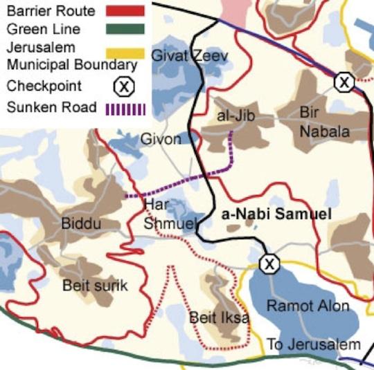 Map of Nabi Samuel and the surrounding area. Credit: B'Tselem.