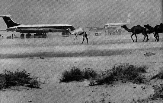Hijacked airplanes on the ground at Dawson's Field in Jordan during the PFLP press conference, September 7, 1970.