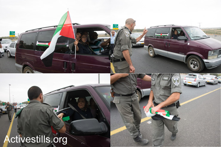 An Israeli border-policeman confiscates a Palestinian car from participants in the march (Activestills)