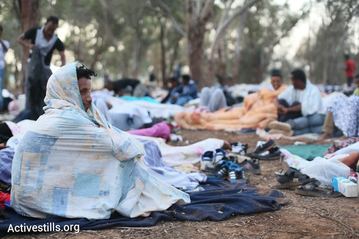 African asylum seekers wake up in their makeshift camp after spending the night in a forest a few hundred meters from the Egyptian border, June 28, 2014. More than 800 Asylum seekers walked out of the Holot open detention facility and tried to reach the border fence with Egypt, saying Israeli dose not check their asylum request and therefore they asking for intervention from the UN and Red Cross as well as to leave the country. (Photo by Oren Ziv/Activestills.org)