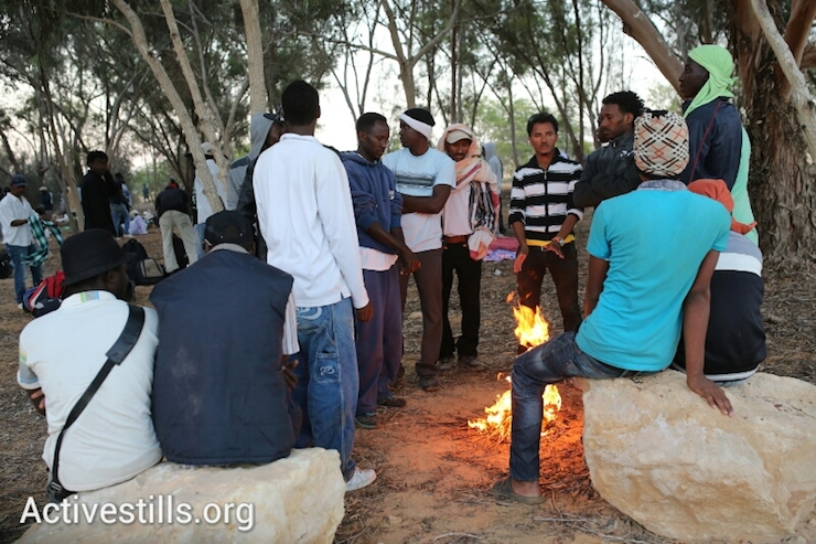 African asylum seekers warm themselves around a fire in their makeshift camp after spending the night in a forest a few hundred meters from the Egyptian border, June 28, 2014. More than 800 Asylum seekers walked out of the Holot open detention facility and tried to reach the border fence with Egypt, saying Israeli does not check their asylum requests and therefore they are asking for intervention from the UN and Red Cross as well as resettlement in third countries. (Photo by Yotam Ronen/Activestills.org)