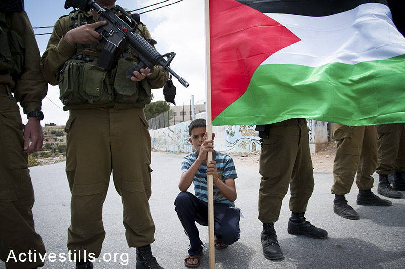 A Palestinian youth holds a Palestinian flag during an anti-occupation demonstration in the West Bank village of Al Ma'sara, June 6, 2014. (Ryan Rodrick Beiler/Activestills.org)