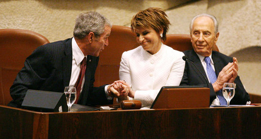 Dalia Itzik with George W. Bush and Shimon Peres. White House photo by Shealah Craighead, 2008.