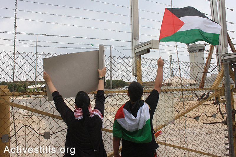 Palestinian protesters hold signs and flags in front of the separation barrier near Tulkarem during the 'Return March.' (photo: Activestills.org)