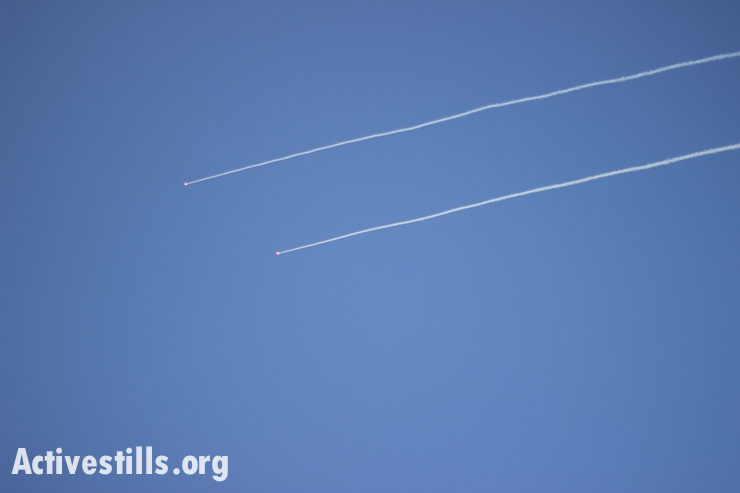 Two rockets fired from the Gaza Strip, July 11, 2014.
