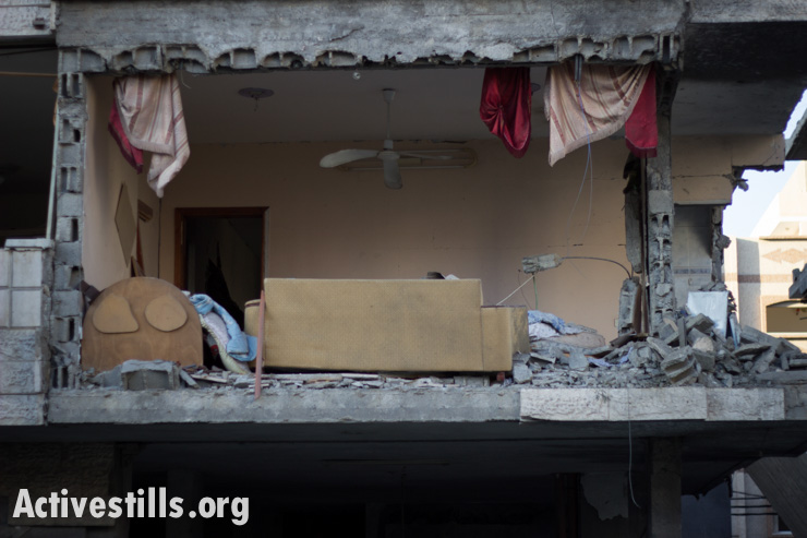 A home in the severely damaged Al Sheikh Radwan neighborhood, Gaza City, July 11, 2014.