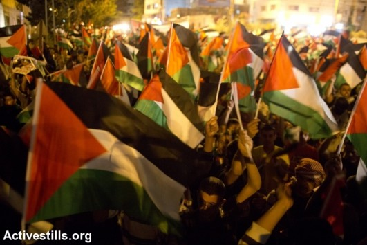 Palestinians march during a protest against the Israeli attack on Gaza in the Qalandyia checkpoint near Ramallah, July 24, 2014. (photo: Activestills)