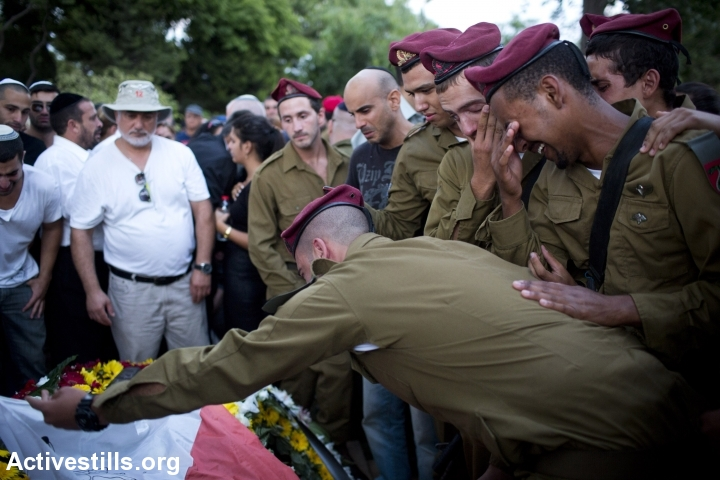 Funeral of Israeli soldier Banaya Rubel, Holon, Israel.  Rubel was killed during clashes in Gaza. (photo: Activestills.org)