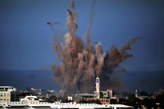 File photo of an Israeli air strike on the Gaza Strip (Photo by ChameleonsEye / Shutterstock.com)