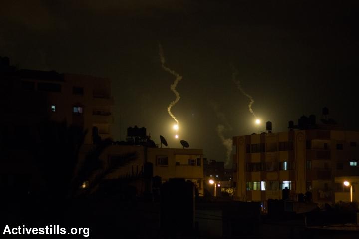 An Israeli airstrike over Gaza. (photo: Activestills.org)