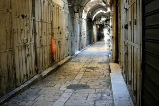 Palestinian-owned stores in Jerusalem's Old City are shuttered in honor of a three-day strike across Jerusalem and the West Bank. (photo: Bilha Calderon)