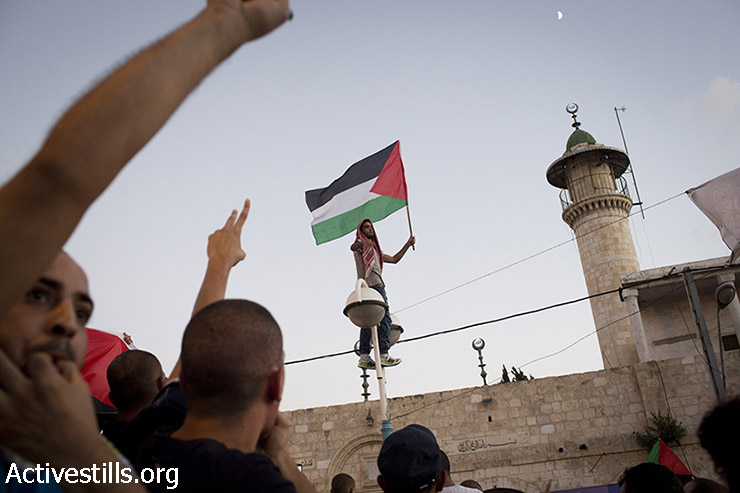 A Palestinian youth living in Israel waves a Palestinian flag during protest against the attack on Gaza in the city of Lod, Israel, August 3, 2014. (Oren Ziv/Activestills.org)