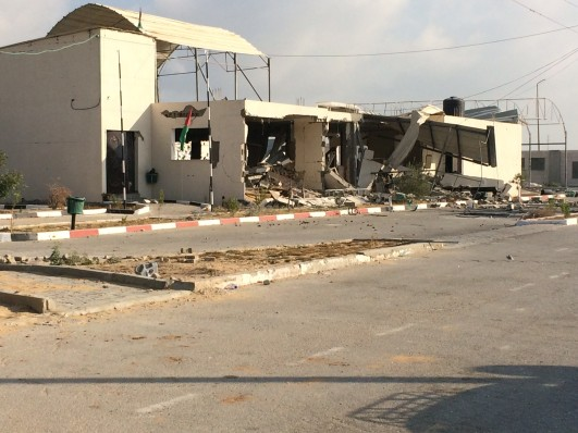 Erez: The lone administrative building on the Palestinian side of the Erez crossing has been destroyed by an Israeli airstrike (photo: Samer Badawi)