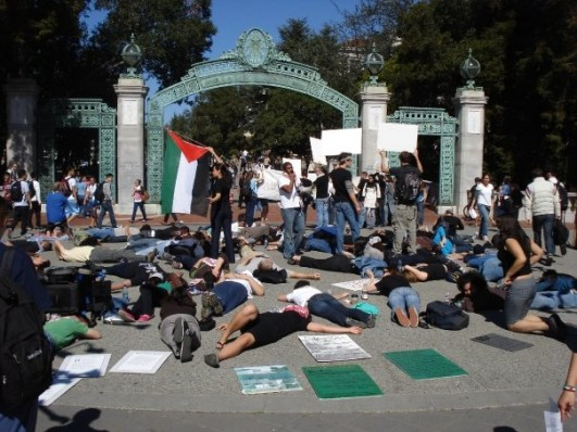 Members of Students for Justice in Palestine hold a 'die-in' on campus in solidarity with the people of Gaza, March 3, 2008 (photo: SJP)