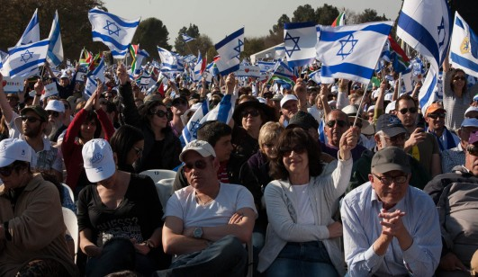 South Africans gather at a pro-Israel rally organized by the South African Zionist Federation, Johannesburg, South Africa, August 3, 2014 (photo: Daily Maverick)