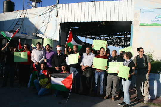A solidarity visit to the Al-Rayyan yogurt factory two months before the demolition. (Photo by Haggai Matar)