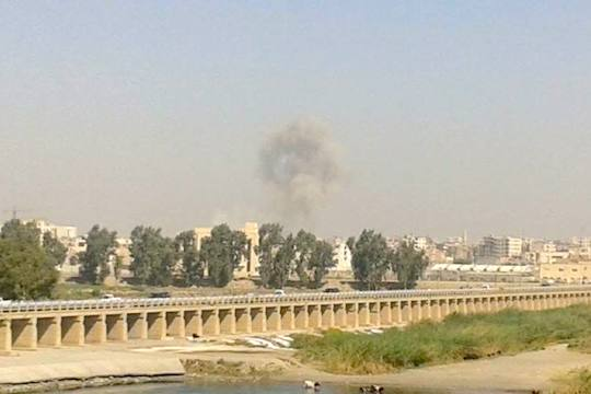 "Syrian regime air strike on Raqqa, August 2014. (Photo by ""Akram)"