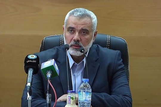 Hamas leader Ismail Haniyeh, May 29, 2014 (Screenshot from Palestinian Interior Ministry YouTube)