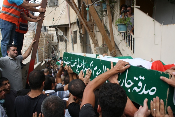 Samir Sarhan's funeral in Silwan. Photo by Joseph Dana.
