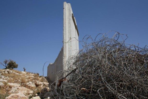 Where Wall Meets Fence in Ni'ilin. Photo by Joseph Dana