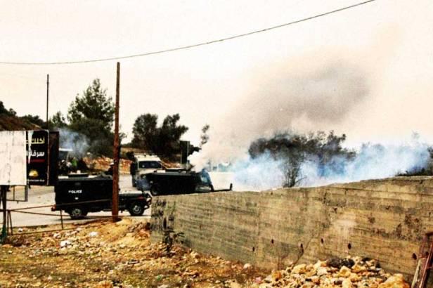 Army Covering Nabi Saleh in Tear Gas. Picture Credit: Joseph Dana/popularstruggle.org