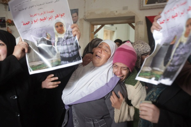The mother of Jawaher and Bassem Abu Rahmah, today in Bil'in (photo: activestills.org)