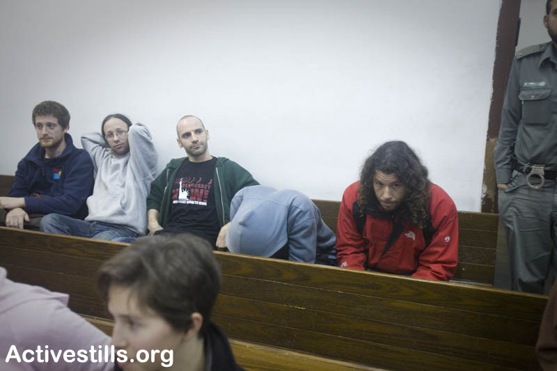Arrested Activists in a Tel Aviv Courtroom 2.1.10 Picture Credit: Oren Ziv/Activestills.org