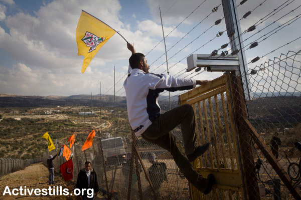 Palestinian man climbs the wall/fence/barrier in Bil'in. Picture Credit: Oren Ziv/Activestills.org
