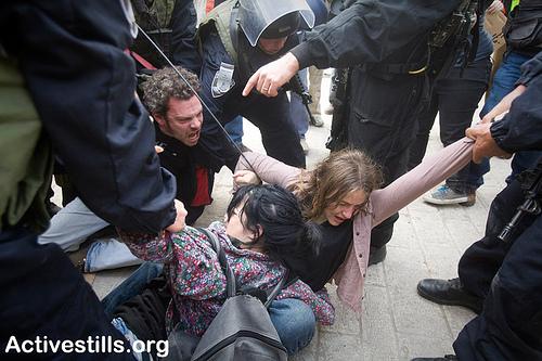 Israeli peace activists in Hebron demonstration 25 Feb 2011. Photo: Activestills.org