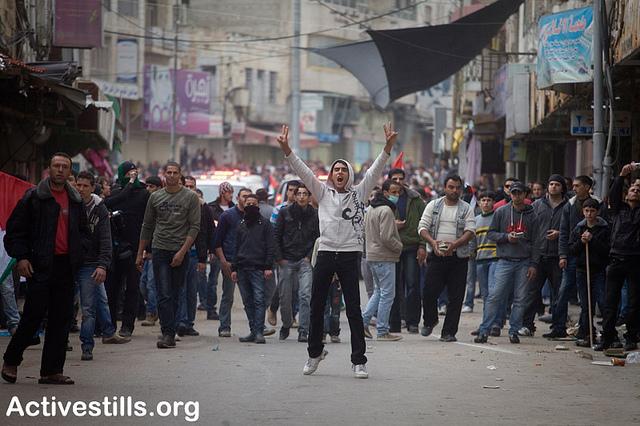 Demonstration in Hebron 25 Feb 2011. Photo: Oren Ziv/activestills.org
