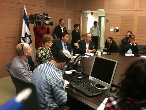 MKs Danny Danon and Otniel Schneller leading the hearing on J Street. (Photo: Mairav Zonszein)