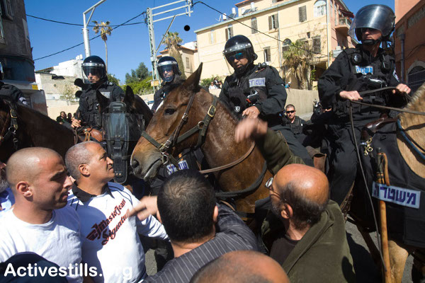 Police and Palestinians in Jaffa today. Photo: Oren Ziv/activestills.org