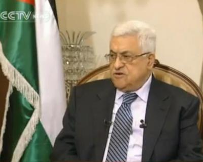 Palestinian President Mahmoud Abbas interviewed by Roee Ruttenberg for CCTV (photo: CCTV)